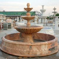 China Large Outdoor Water Feature Custom Red Marble Stone Garden Water Fountain With Pool wholesale