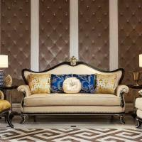 China 010# wooden carved Luxury home furniture Royal genuine leather sofa set. 1+2+3 seater combination fabric sofa wholesale