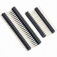 China 2.54mm Pitch Pin Header, Two Plastic Right Angle Single Row wholesale