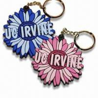 China Flower Shaped Keychains, Various Styles are Available, Made of Soft PVC wholesale