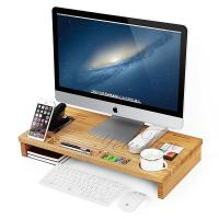 China Laptop Stand Desktop Container Bamboo Monitor Stand Riser wholesale