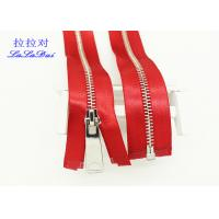 China High End High Polished Metal Separating Zipper Red Tape Customized For Coveralls wholesale