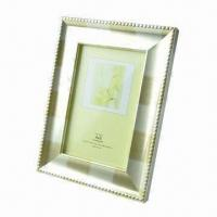 China Metal photo frame in 3.5x5, 4x6, 5x7, 6x8, 8x10 inches sizes, made of aluminum, black velvet, stand wholesale