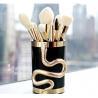 China Luxury Snake Shape Face Makeup Brush Set Nylon Hair Material Gold Ferrule Color wholesale