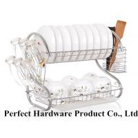 China S Shape 2 Tier Stainless Steel Kitchen Rack Dish Rack With Draining Plate Holder PT-DR004 wholesale
