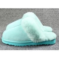 China Anti Slip Ladies Sheepskin Mule Slippers , Ladies Wool Lined Slippers With Soft Leather Sole on sale