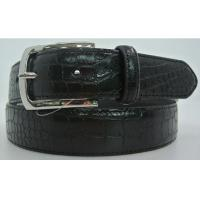 China Stitching Croc Mens Casual Leather Belts Single Prong Buckle Black Color wholesale