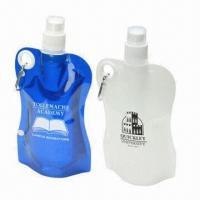 China FDA-passed plastic water bottles/PE folding water bottles with carabiner wholesale
