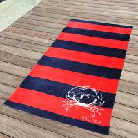 China Awesome Kids Swimming Towels Red and Navy Striped Seashell Beach Towels wholesale