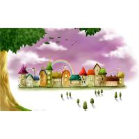 Water Resistant Bamboo Fiber Wall Art Panels Cartoon Rainbow Castle