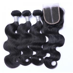 Buy cheap cierre peruano del top del cordón 7A, extensiones peruanas del cabello humano de la onda del cuerpo from wholesalers