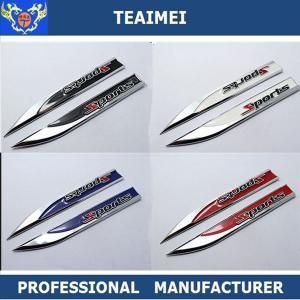 China Customized Black / Blue Chrome Plating Car Fender Emblems Knife Shaped wholesale