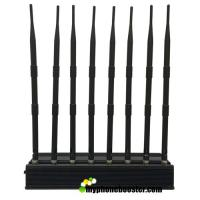 China 8 Antennas 20W Desktop Mobile Phone Signal Jammer Blocker Block GSM 3G 4G LTE Wifi GPS Lojack VHF UHF 24 Hours Working wholesale