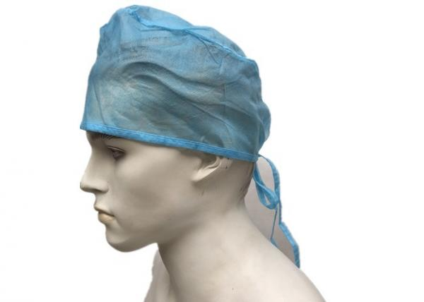 Quality Blue Green Disposable Operating Room Hats , Surgical Doctor Head Cap With Tie for sale