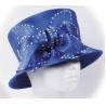 Blue Pretty Ladies' Church Hats With Stunning Diamond Chain , Women Church Hat