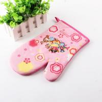 Carton Pattern Printed AZO Free Heat Resistant Kitchen Oven Gloves 100% Cotton for Child