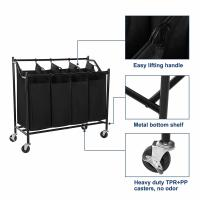 China Simplehouseware 4-Bag Heavy Duty Rolling Laundry Sorter Cart, Chrome,laundry baskets,bag factory wholesale