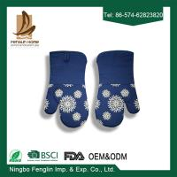 Blue Silicone Coated Oven Mitt Professional Oven Gloves and Pot Holder For Kitchen