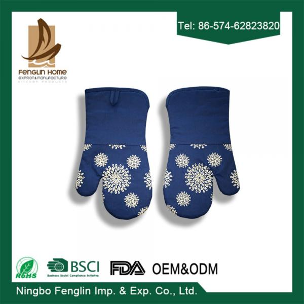 Quality Blue Silicone Coated Oven Mitt Professional Oven Gloves and Pot Holder For Kitchen for sale
