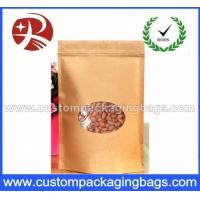 Laminated Zip Lock Kraft Paper Stand Up Pouches For Food With Ground Clear Window