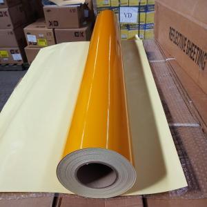 China Printable High Intensity Reflective Vinyl Film , Yellow Reflective Vinyl PVC Material on sale