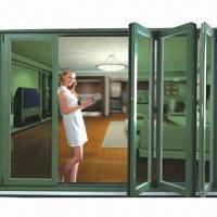 China Bi-folding folding door with aluminum frame profile, pannel glass wholesale