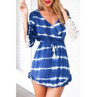China New Lace Sleeve Dress Bohemian Fashion Casual Dress for Women In Blue Tie Die on sale