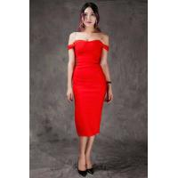 China Summer Bodycon Dresses Red , Mid Length Bodycon Dresses A - Line wholesale