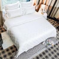 China 100% cotton hotel and home luxury bedding sets white jacquard hotel cotton comforter set bed sheet on sale