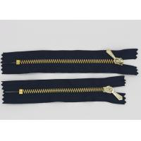 China Decorative 10 Inch Open End  Metal Jacket Zippers Golden Teeth For Pocket wholesale