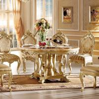 Buy cheap Gold Rotating Round Marble Dining Table from wholesalers