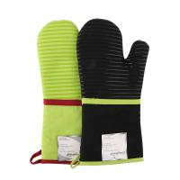 China Heat Insulating Cotton Mittens Cooking Kitchen Oven Mitts Love Heart Printed Microwave Gloves wholesale