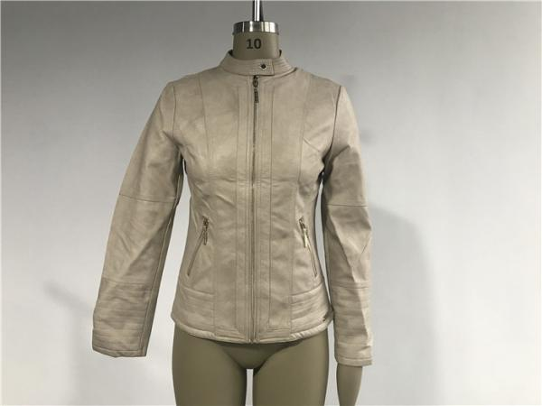 Quality Stone Color Ladies PU Jacket Slim Fit Biker Jacket With Multi Topstitching TW77310 for sale