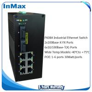 China 8 ports PoE switch, 2F+6TP DIN-RAIL PoE Managed Fiber Optic Ethernet networking switch wholesale