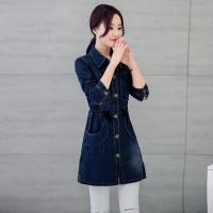 China Customized Pattern Womens Jean Jackets , Classic Elegant Style Long Denim Jacket wholesale