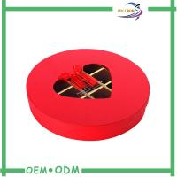China Eco - Friendly Red Custom Paperboard Chocolate Gift Packs Round Box ODM / OEM wholesale