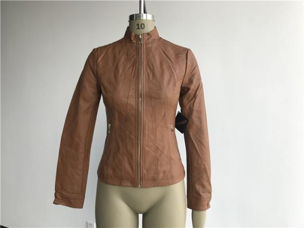 Quality Camel Ladies Pleather Jacket With Soft Gold Zip Through And Funnel Collar TW74291 for sale