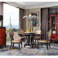 China New classic Luxury Furniture Round Dining Tables and Wine Cabinet in glossy painting with Leather Upholstered Chairs wholesale
