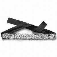 China 100% Hand-sewed Rhinestone Belts for Women with Polyester Fabric Material wholesale