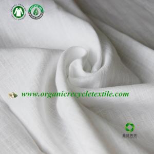 GOTS Organic cotton slub yarn fabric  white color made in China