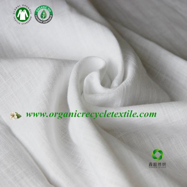 Quality GOTS Organic cotton slub yarn fabric  white color made in China for sale