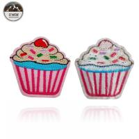 China Pink Cake Custom Woven Patches Embroidery Material For Gifts / Souvenir wholesale