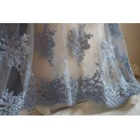 China Pale Blue Beaded Embroidered 3D Flower Lace Fabric By The Yard For Wedding Dress wholesale