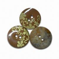 Quality Laser Buttons with Enamel Effect, Made of Nature Shell, Available in Various for sale