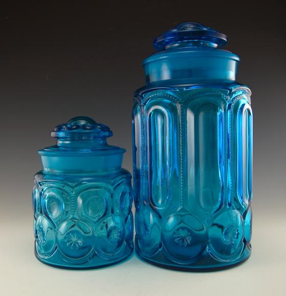 Vintage Blue Glass Canister Set Images
