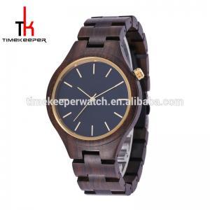 China Black sandal quartz movement wood watch cheap price good quality timekeeper men wood watch wholesale