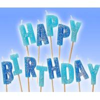 China Glitter Letter Shaped Birthday Candles 100% Paraffin Non Toxic For Celebration wholesale