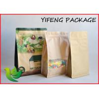 China Flat Bottom Kraft Paper resealable stand up pouches Clear Window Printing on sale