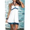 China White Halter Tie Keyhole Sundress  Babydoll Lingerie nightwear women dress skirt clothes wholesale