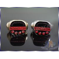 China 2D Or 3D Design Zinc Alloy Ring With Red Stones Environmental Friendly wholesale